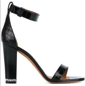 Givenchy croc embossed chain block heel sandals